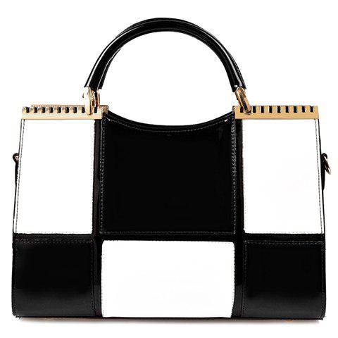Elegant Style Metallic and Color Block Design Tote Bag For Women - BLACK