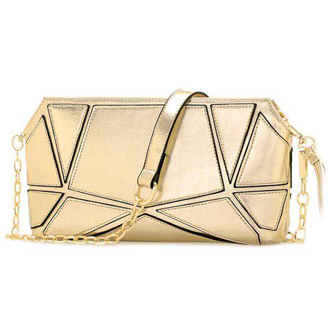 Elegant Geometric Print and Chain Design Clutch Bag For Women - GOLDEN