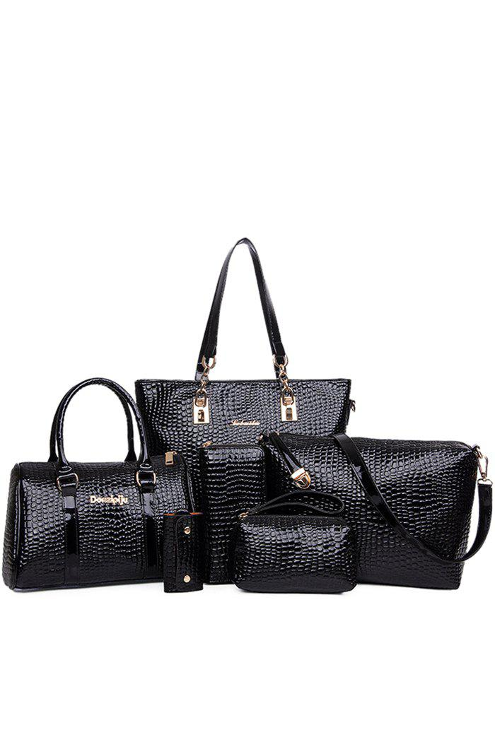 Elegant Patent Leather and Crocodile Print Design Women's Shoulder Bag