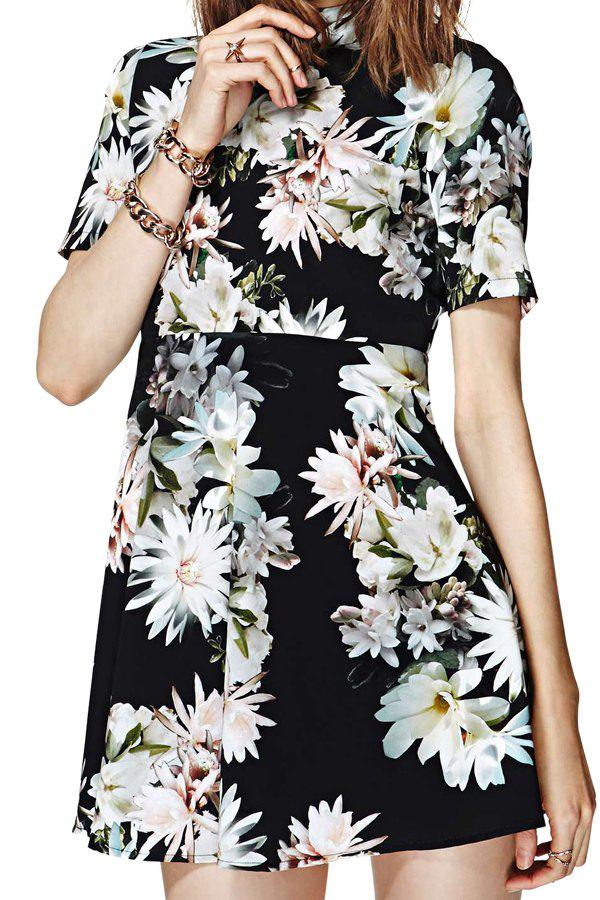Stylish Turtle Neck Short Sleeve Flower Print Open Back Women's Dress - BLACK S
