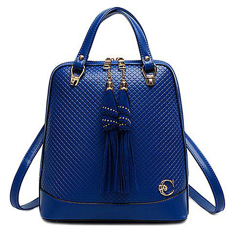 Stylish Style Checked and Tassels Design Satchel For Women - BLUE