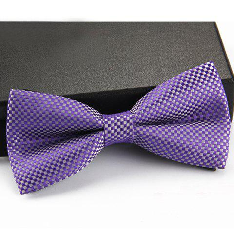 Stylish Checked Pattern Men's Bow Tie - PURPLE