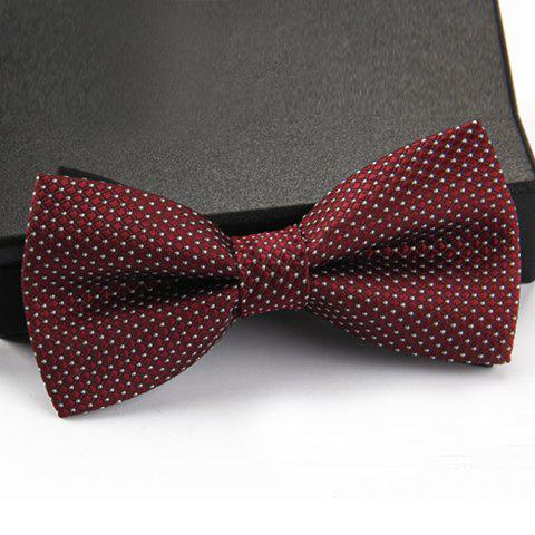 Stylish Small Dots Pattern Men's Bow Tie - WINE RED