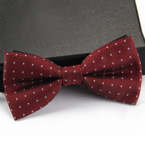 Stylish Small Dots and Twill Pattern Men's Bow Tie - WINE RED