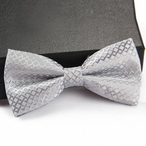 Stylish Rhombus Jacquard Men's Bow Tie - WHITE