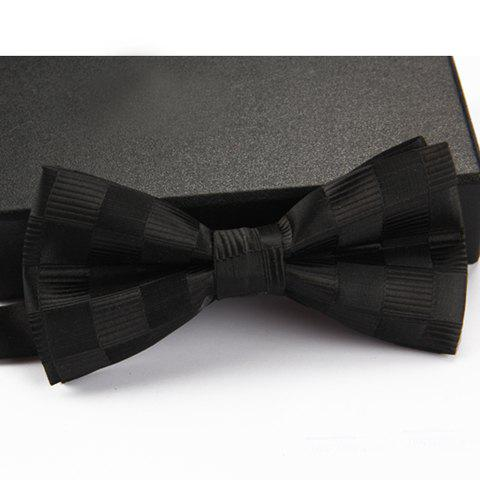 Stylish Checked and Stripe Pattern Men's Bow Tie - BLACK