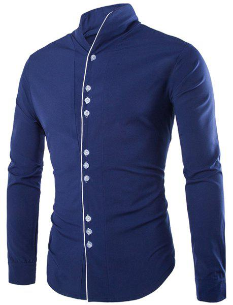 Slimming Stand Collar Vogue Color Block Placket Buttons Design Long Sleeve Men's Cotton Blend Shirt - CADETBLUE 2XL