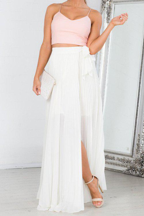 Elegant Style High-Waisted High Slit Pleated Tie-Up White Women's ...
