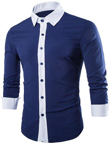 Color Block Panel Cotton Blend Shirt - CADETBLUE M