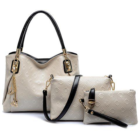 Graceful Embossing and Butterfly Design Tote Bag For Women - OFF WHITE