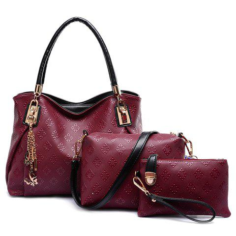 Graceful Embossing and Butterfly Design Tote Bag For Women - RED
