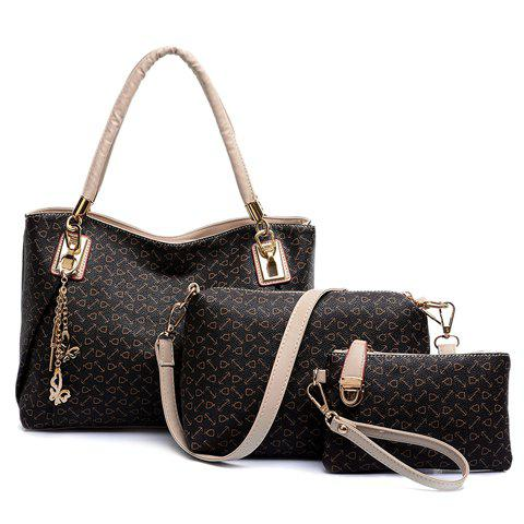 Graceful Arrow Print and Butterfly Design Tote Bag For Women - COFFEE