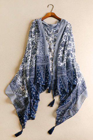 Chic Tassels Embellished Ethnic Printed Multifunctional Women's Pashmina - CADETBLUE