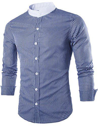 Slimming Stand Collar Fashion Tiny Checked Splicing Long Sleeve Men's Cotton Blend Shirt - BLUE L