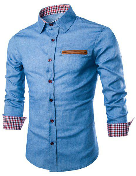 Plaid Hemming Panel Long Sleeve Denim Shirt - LIGHT BLUE XL