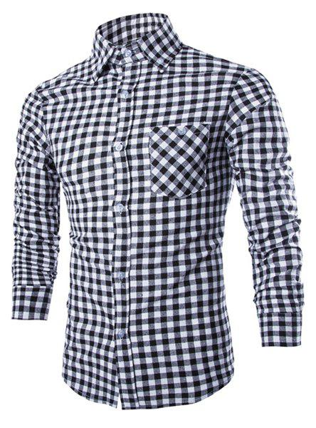 Slimming Shirt Collar Stylish Simple Color Block Checked Long Sleeve Men's Cotton Blend Shirt - BLACK L
