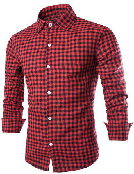 Slimming Shirt Collar Fashion Color Block Tiny Checked Long Sleeve Men's Cotton Blend Shirt - RED M