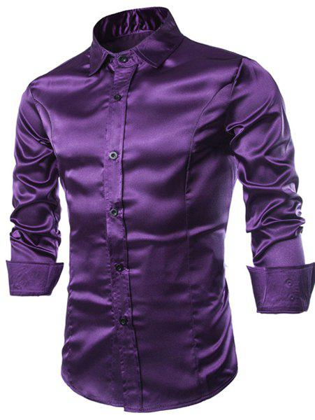 Slimming Shirt Collar Trendy Splicing Design Solid Color Long Sleeve Men's Cotton Blend Shirt - PURPLE L
