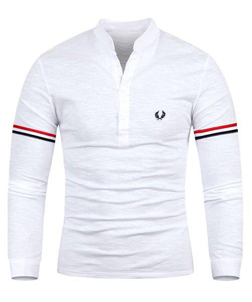 Slimming Stand Collar Vogue Embroidered Stripe Splicing Long Sleeve Polyester Men's T-Shirt - WHITE M