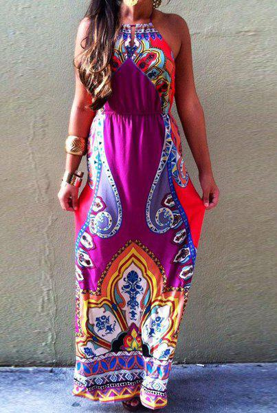 Bohemian Women's Sleeveless Halter Tribal Print Maxi Dress, ROSE ...