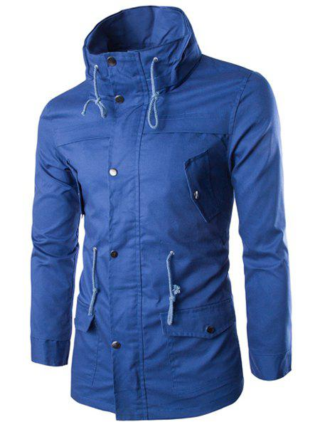 Slimming Stand Collar Trendy Solid Color Multi-Pocket Long Sleeve Cotton Blend Men's Coat - BLUE 2XL