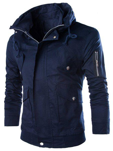 Slimming Stand Collar Vogue Multi-Pocket Zipper Design Long Sleeve Cotton Blend Men's Jacket - CADETBLUE 2XL