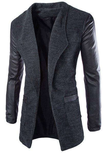 Slimming Lapel Stylish Large Pocket PU Leather Splicing Long Sleeve Woolen Blend Men's Trench Coat - DEEP GRAY XL