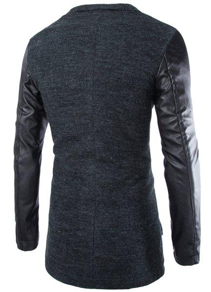 Slimming Lapel Stylish Large Pocket PU Leather Splicing Long Sleeve Woolen Blend Men's Trench Coat - DEEP GRAY M