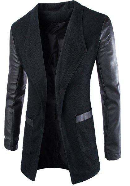 Slimming Lapel Stylish Large Pocket PU Leather Splicing Long Sleeve Woolen Blend Men's Trench Coat - BLACK M