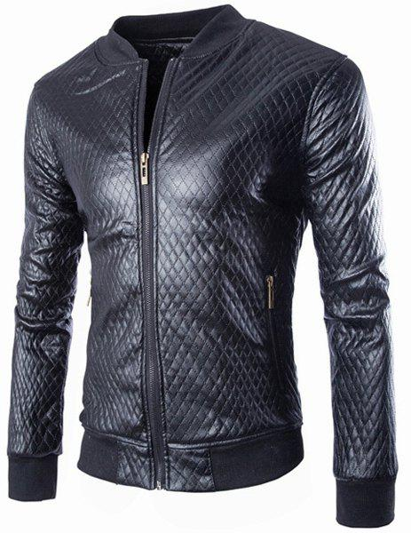 Slimming Stand Collar Fashion Argyle Design Rib Splicing Long Sleeve Men's PU Leather Coat - BLACK L