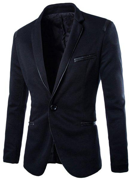 Slimming Lapel Trendy Pocket Design PU Leather Edging Long Sleeve Polyester Men's Blazer - BLACK M
