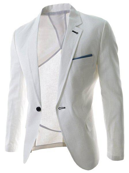 Slimming Lapel Stylish One Button Sutures Design Long Sleeve Men's Polyester Blazer
