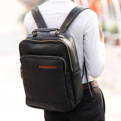 Preppy Style Zipper and PU Leather Design Backpack For Men - BLACK