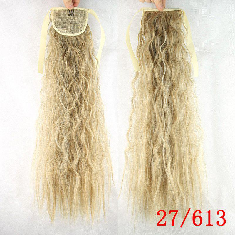 Stylish Capless Heat Resistant Synthetic Curly Long Tacos Ponytail For Women - ASH BLONDE /
