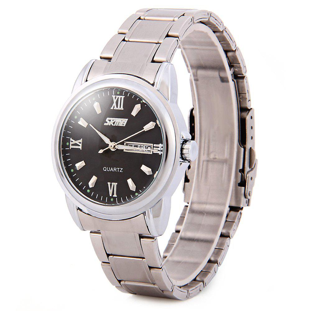 Skmei 9082 Quartz Watch Japan Movt Day Date 30M Water Resistant Fine Steel Band Round Dial for Men - BLACK