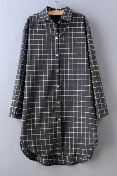 Casual Shirt Collar Checked Print Long Sleeve Women's Dress - GRAY L