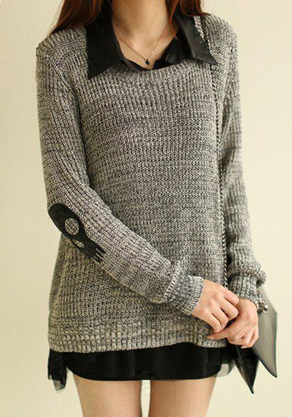 Stylish Long Sleeve Turn-Down Collar Skull Pattern Sweater + Sleeveless Blouse Women's Twinset - GRAY ONE SIZE(FIT SIZE XS TO M)