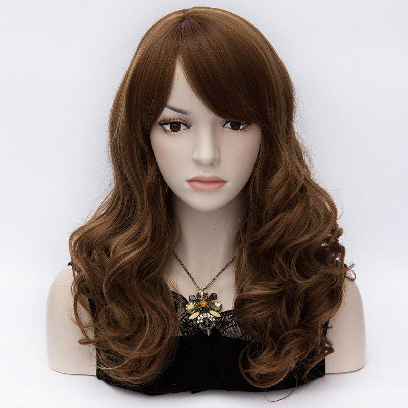 Stylish Fluffy Wavy Stunning Long Side Bang Heat Resistant Fiber Capless Wig For Women - BROWN HIGHLIGHT /