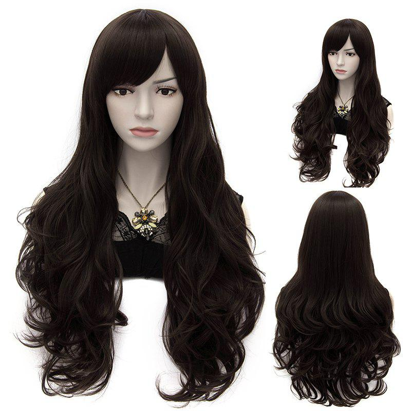 Stylish Heat Resistant Synthetic 70CM Fluffy Long Capless Inclined Bang Wavy Wig For Women - BLACK BROWN MIXED