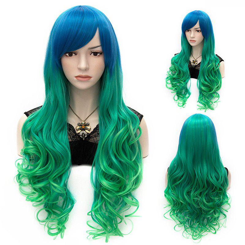 Fashion Cosplay Lolita Long Capless Wavy Side Bang Ombre Heat Resistant Synthetic Women's Wig - BLUE GREEN MIXED /