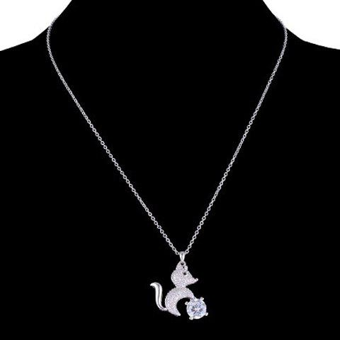 Sweet Cute Rhinestone Squirrel Pendant Necklace For Women - SILVER