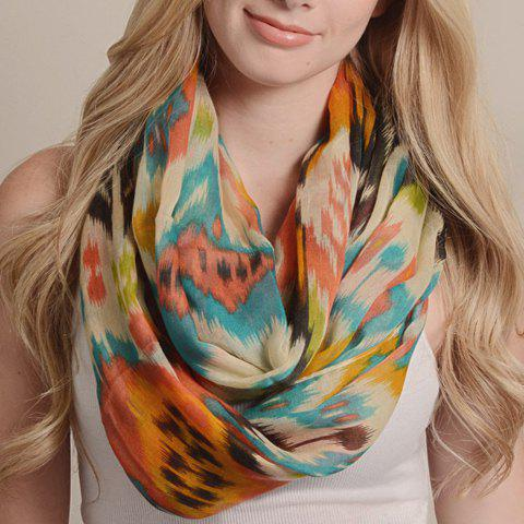 Chic Hazy Colored Tribal Geometric Print Women's Voile Neck Warmer - ORANGE