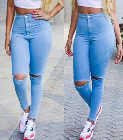 Stylish Solid Color Broken Hole Skinny Women's Jeans AZURE S in