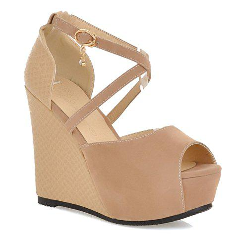 Sexy Wedge Heel and Ankle-Wrap Design Sandals For Women - APRICOT 38