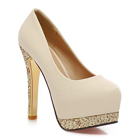 Stylish Style Round Toe and Sequined Design Pumps For Women - OFF WHITE 39