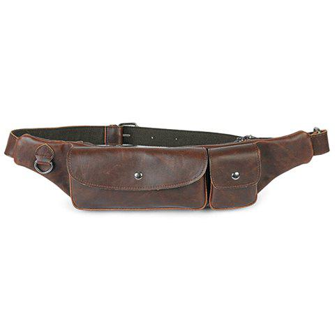 Retro Style PU Leather and Zipper Design Messenger Bag For Men - COFFEE