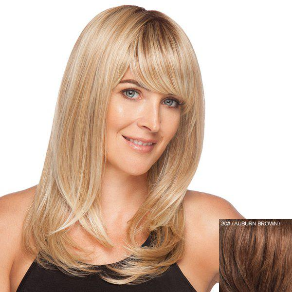 Stylish Side Bang Human Hair Charming Long Elegant Silky Straight Women's Capless Wig -