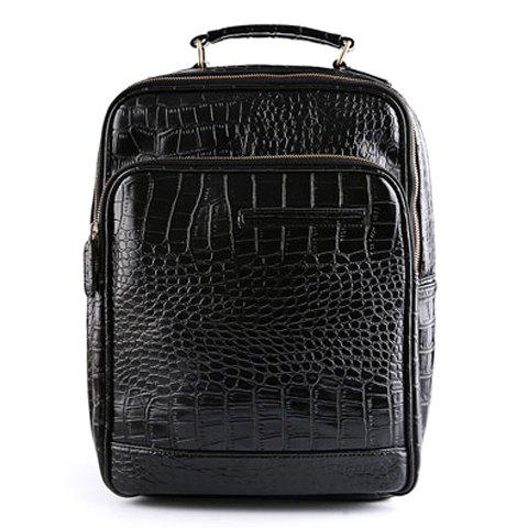 Fashion Crocodile Print and Black Design Backpack For Men - BLACK