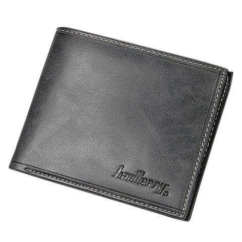 Simple Solid Color and Letter Print Design Men's Wallet - DEEP GRAY