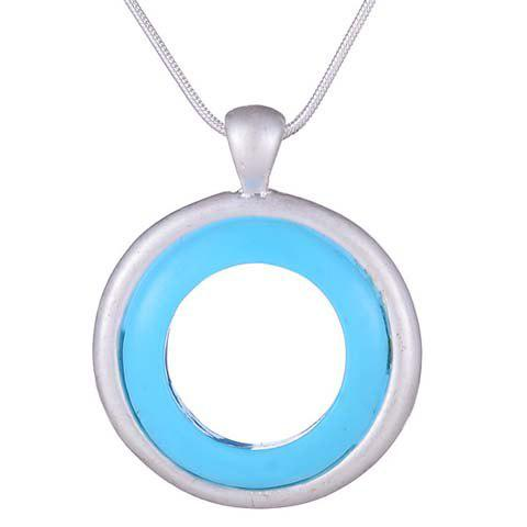 Simple Chic Round Pendant Necklace For Women - SILVER